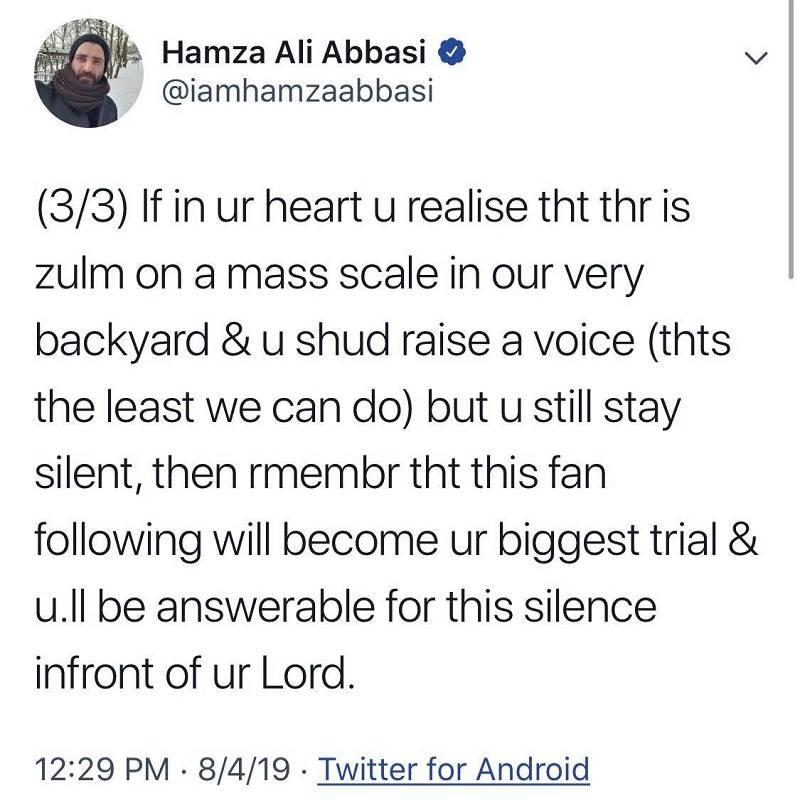 Pakistani celebrities' stance on Kashmir issue.