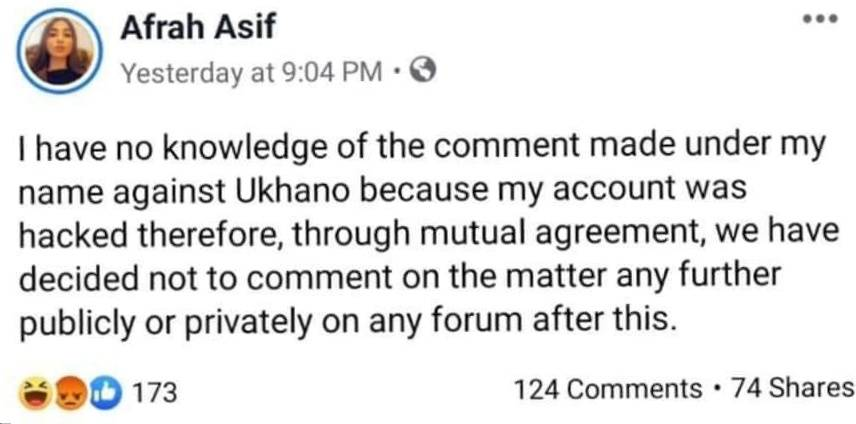 Afrah Asif Admits Allegations Against Ukhano Were False