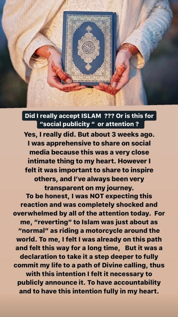 Rosie Gabrielle accepts Islam after staying a year in Pakistan