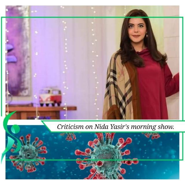 Nida Yasir's morning show is facing criticism due to Corona outbreak.