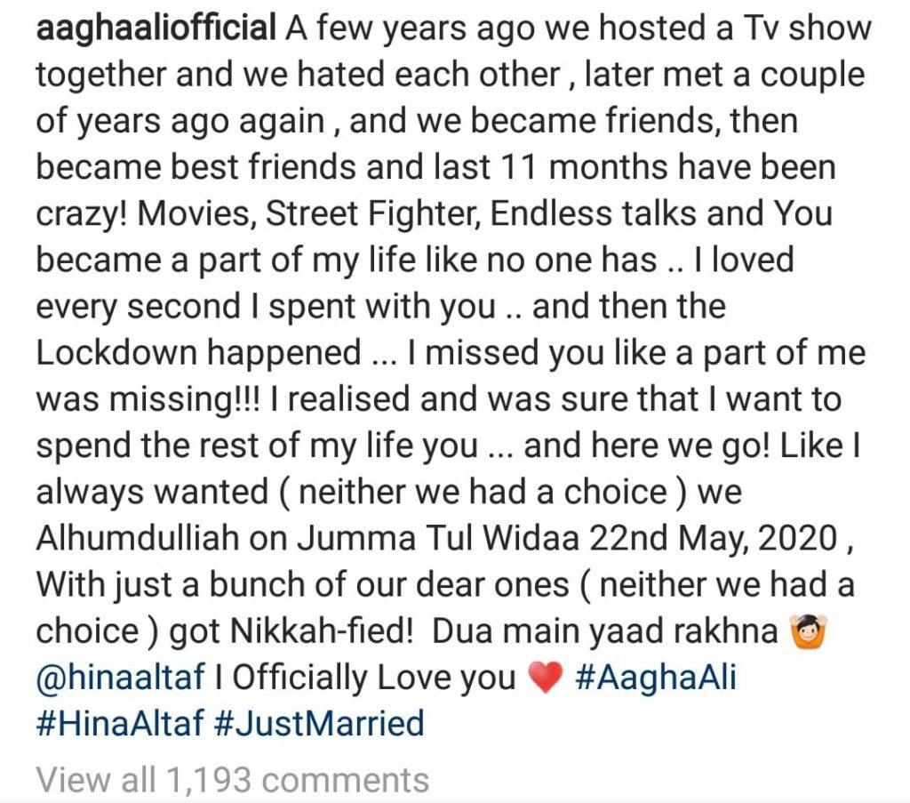The rumoured couple, Hina Altaf and Agha Ali ties the knot !!