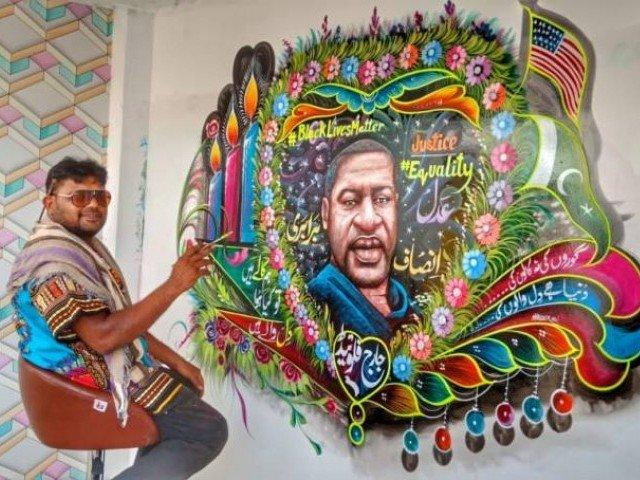 George Floyd mural by Pakistani truck artist.