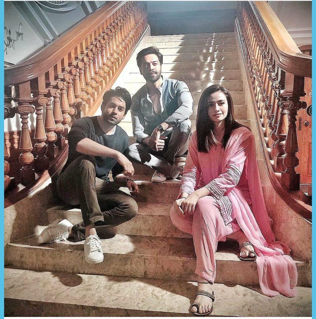 Sana Javed and Bilal Abbas with Fahad Mustafa.