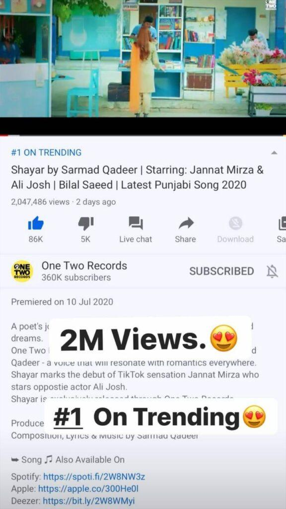 Jannat Mirza's debut song is trending #1 on YouTube